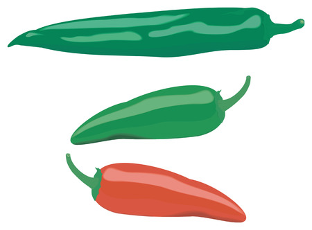 three different color and shape peppers, isolated on white