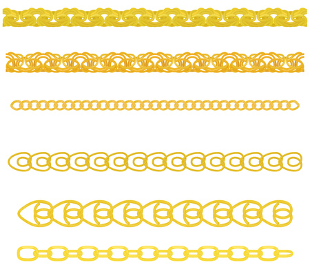 interlink: set of gold chains different weave and shape