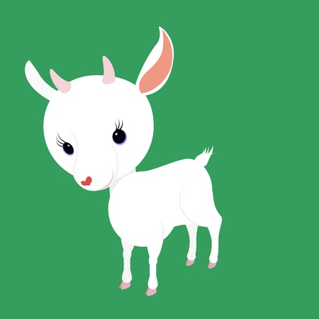 baby goat: cartoon goat kid  with big head and small horns