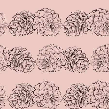 Seamless pine cone Cristmas pattern on pink
