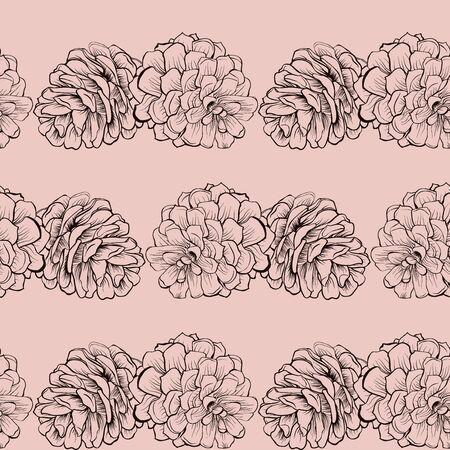 Pine cone: Seamless pine mod�le c�ne de Cristmas sur le rose