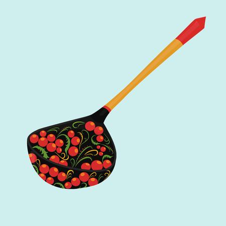 khokhloma: russian national wooden spoon  Khokhloma  isolated on white