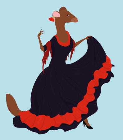 spainish: illustration ferret  in long dress dances spainish flamenco