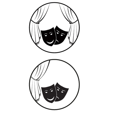 dramatic: theatre with curtain, happy and dramatic mask