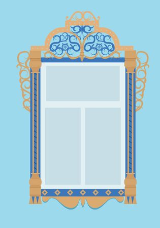 wooden window: wooden window with architrave, typical of Russian culture Illustration