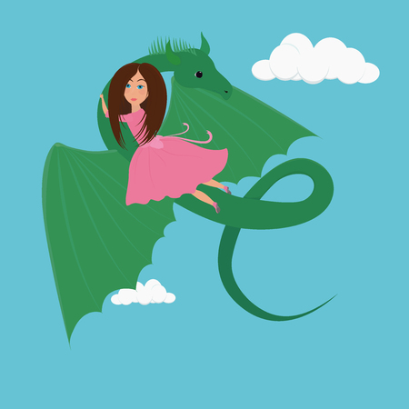 small girl Princess in pink dress and the green Dragon cartoon illustration 向量圖像