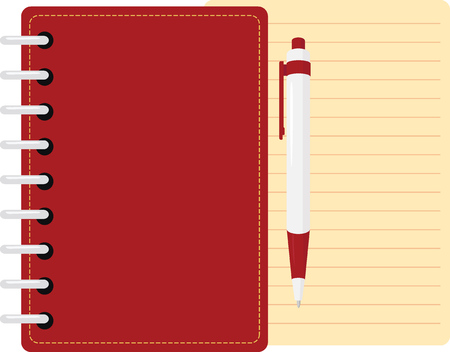 personal organizer  with pen and sheet of paper, red copybook diary Illustration