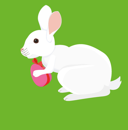 buny: Cartoon white Easter rabbit with painted egg Isolated on green Illustration