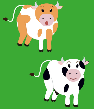 moo: two cute fun spotted cow,  isolated cartoon calf Illustration
