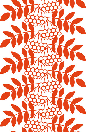 ashberry: Seamless autumn monochrome pattern with rowan berries and leaves. Fall orange floral background.