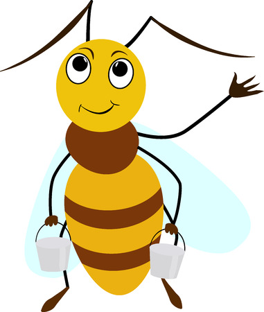 abeja reina: Amarillo historieta divertida abeja sonriente con dos cubos Vectores