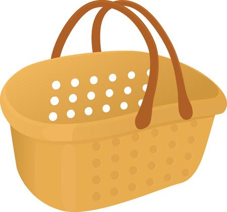 plastik: Shopping yelow plastik empty basket icon isolated on white Illustration