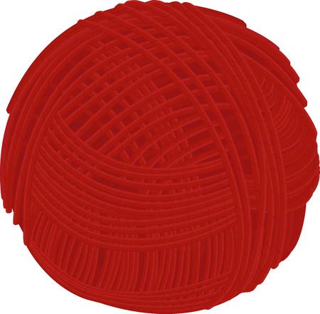Laine bande dessinée rouge fil balle isolé sur blanc