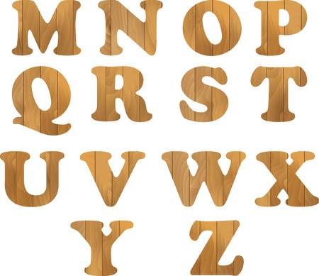 nailed: Alphabet  wooden letters isolated on white background Illustration