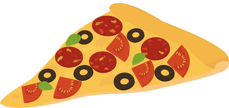 processed food: Icon Italian pizza.  slice of pizza with salami, pepperoni, tomato and olive of advertising for your restaurant business.