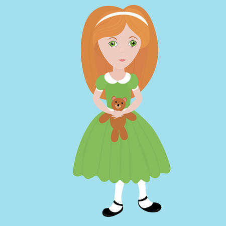 cute girl with teddy bear: cute cartoon  little girl with orange hair wearing green dress holding small  teddy bear. Kid playing with toy, happy child.