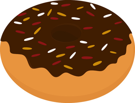 glazed: Chocolate glazed donut icon, sweet snack isolated on white Illustration
