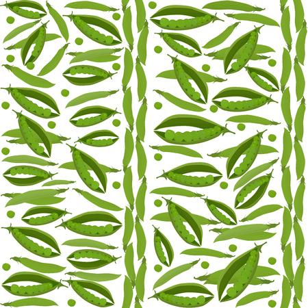 green peas: Green peas seamless vegetable pattern on white background