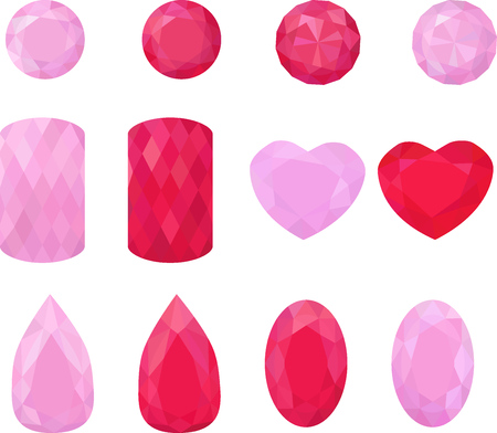 Set of flat red and pink jewels different shape. Colorful gemstones. Rubies isolated on white Illustration