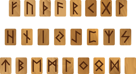 germanic people: Alphabet with wooden ancient Old Norse runes Futhark Set of  scandinavian and germanic letters isolated on white
