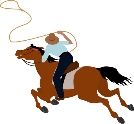 western saddle: Cowboy rider on the horse throwing lasso Wild West illustration