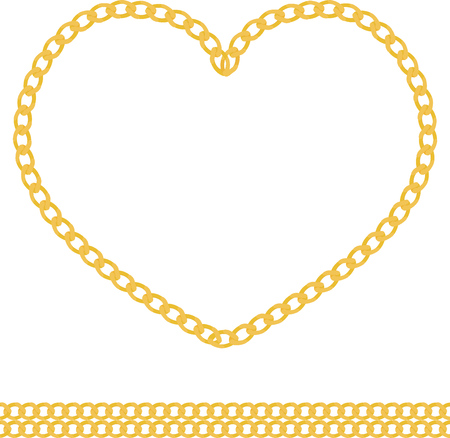necklet: Illustration of jewelry golden chain of heart shape