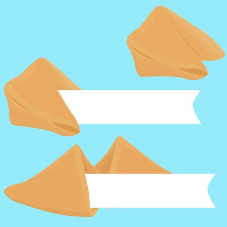 fortune cookie: realistic cracked and whole fortune cookie with place on paper for text with prediction or wishes