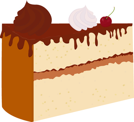 gateau: chocolate cake with cream and cherry berry isolated on a white background. Illustration