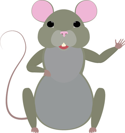 Cute cartoon mouse isolated on white. Illustration