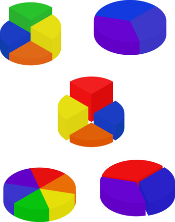 segmented: Set of color segmented diagrams, isometric style, infographgic element