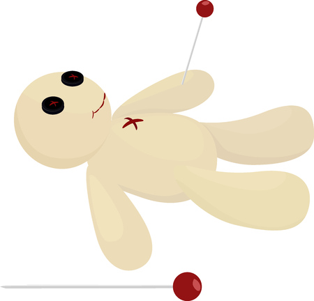 voodoo: Halloween voodoo doll with pin isolated on white