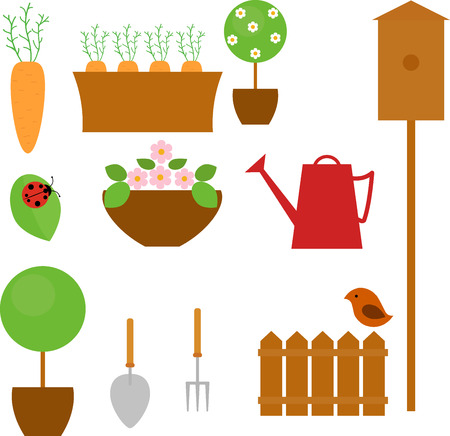 carrot tree: Gardening icon set with carrot, tree, flower and shovel isolated on white Illustration
