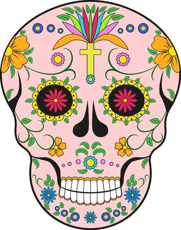 scull: Scull. Mexico.Pop-art modern illustration decorative scull isolated on white Illustration