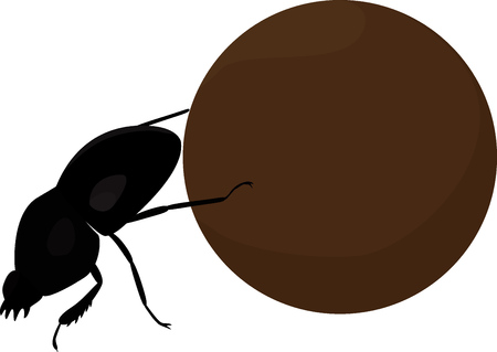 dung: Scarab dung cartoon beetle with big brown manure ball Illustration