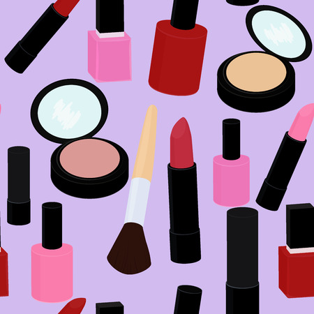 cute cartoon pink and red nail polish and lipstick seamless vector pattern on lilac background