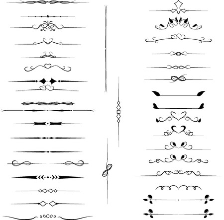 Set of decorative design elements for text, calligraphic flourishes page dividers isolated on white