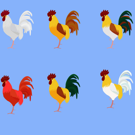 Rooster. Cock. Vector set of rooster, different color for new year 2017 greeting cards