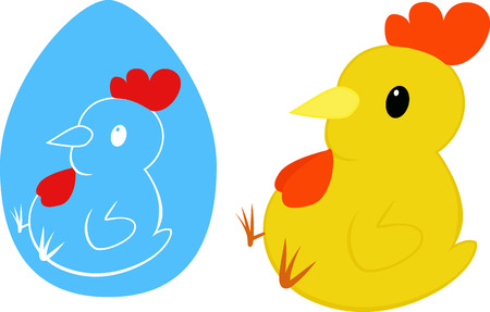 hock: Cartoon yellow chicken. Easter chick in egg