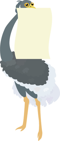 ostrich: Funny Ostrich holding blank sign Illustration
