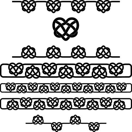 Celtic heart knot. vector symbols set Vektorové ilustrace