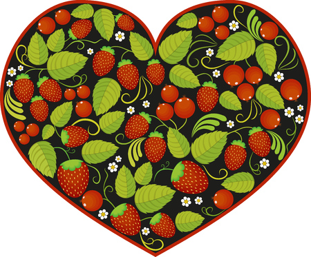 heart with traditional russian pattern Khokhloma. Illustration