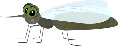Cartoon gray funny mosquito. Illustration
