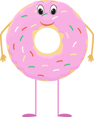 Donut cartoon character with pink icing Illustration