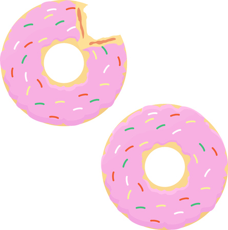 goody: Donut with pink icing, whole and biting