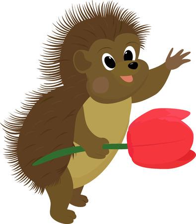 cartoon brown hedgehog with flower Vector Illustration