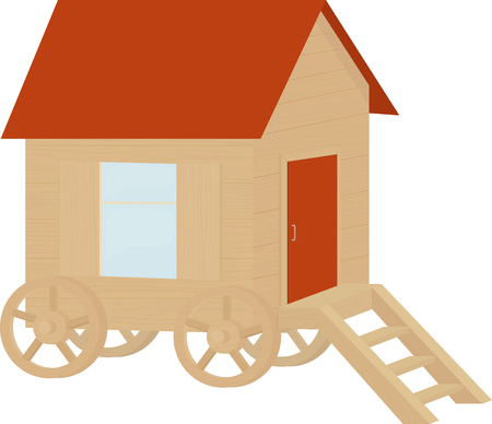 wooden cartooon caravan wagon, house on wheels isolated on white Illustration