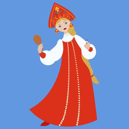 ukrainian traditional: cute Russian girl in red traditional folk dress