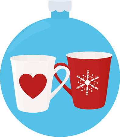 New Year cup with ornaments in blue christmas-tree ball