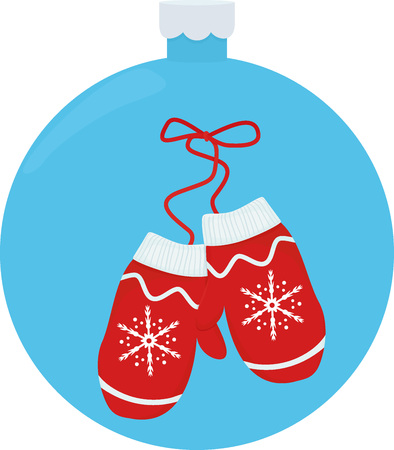 A pair of knitted mittens vector illustration for Christmas greeting card inside a decorative blue Christmas-tree ball