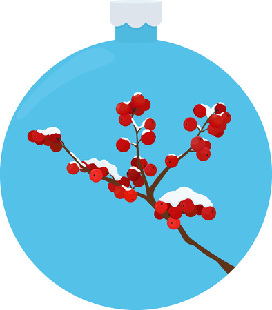 Een rijp bedekt met meidoorn bessen in de winter bos in blauwe kerst bal ontwerp Stock Illustratie